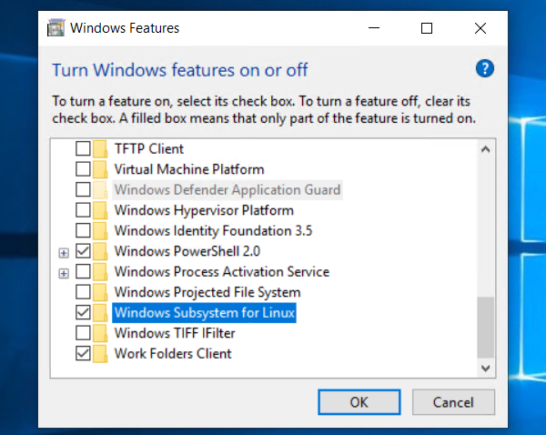 Add WSL Feature from Features Add/Remove
